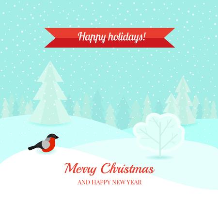 Christmas winter landscape background Vector