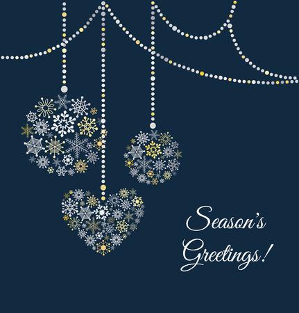 クリスマス ボールと青色の背景は雪片の作られて。グリーティング カード。ベクトル イラスト