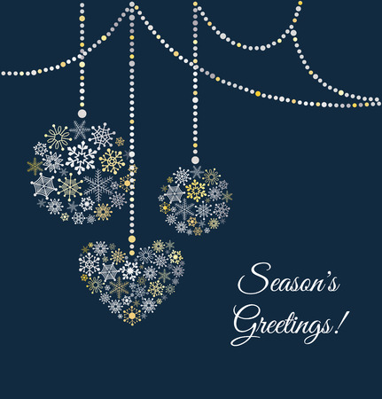 Blue background with christmas ball made of snowflakes. Greetings card. Vector Illustration