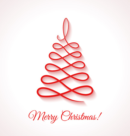 applique: Abstract red Christmas tree on white background. Design elements for holiday cards. Beautiful applique. Vector illustration.