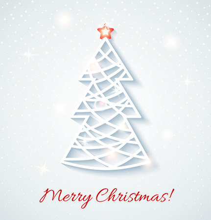 applique: Festive card with Christmas tree.  Design elements for holiday cards. Beautiful applique. Vector illustration.