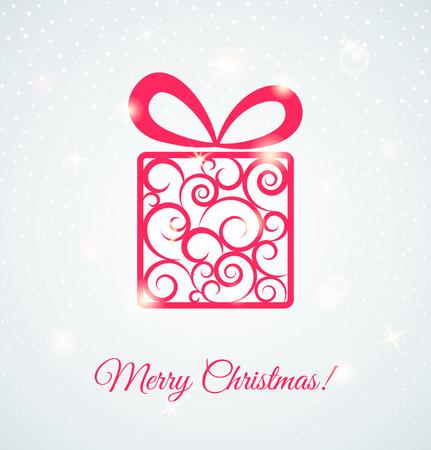 fiambres: Tarjeta festiva con caja de regalo. Shine ilustraci�n vectorial
