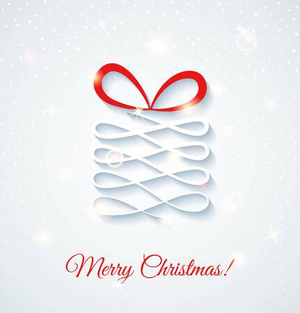 Festive card with gift box. Shine vector illustration Illustration
