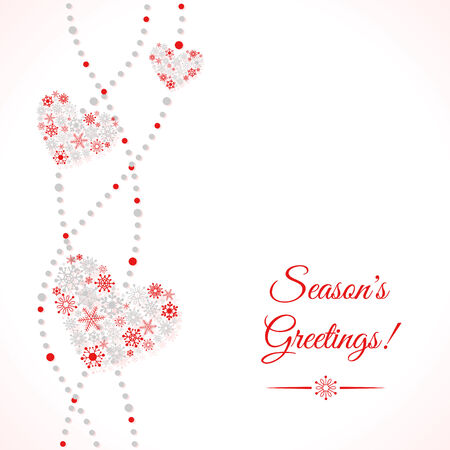 Greetings card with garland of hearts made of snowflakes. Winter holiday background Vector