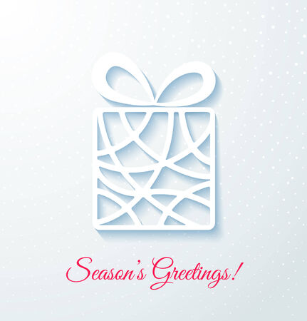 applique: Applique card with white gift box. Festive background. Vector illustration