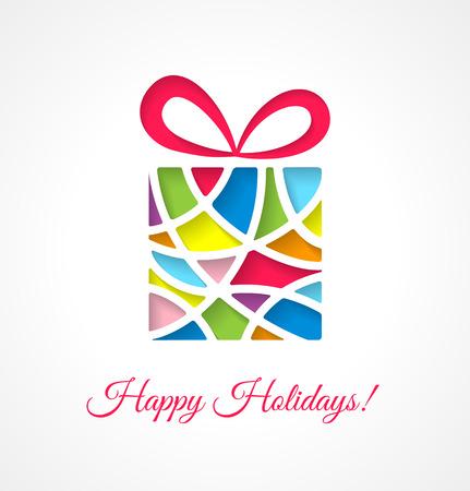 white christmas: Kerstkaart sjabloon met uitgesneden veelkleurige geschenk. Vector illustratie.