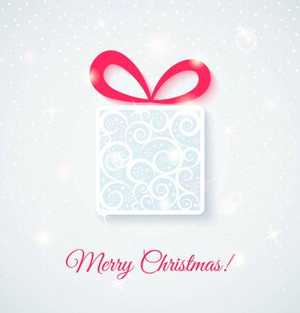 fiambres: Tarjeta festiva con caja de regalo. Shine ilustración vectorial