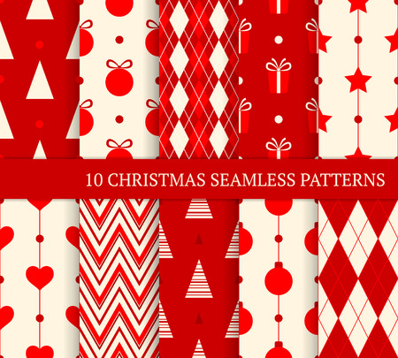 new year tree: 10 Christmas different seamless patterns. Endless texture for wallpaper, web page background, wrapping paper and etc. Retro style.