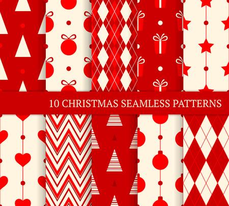 10 Christmas verschiedene nahtlose Muster. Endless Textur für den Hintergrund, Web-Seite Hintergrund, Packpapier und etc. Retro-Stil. Standard-Bild - 34493153