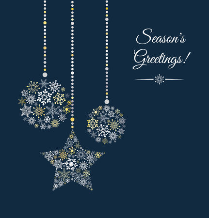 Blue background with christmas ball made of snowflakes.