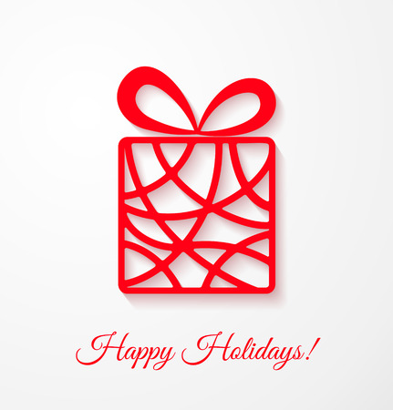 red gift box: Applique card with red gift box. Vector illustration for your design.