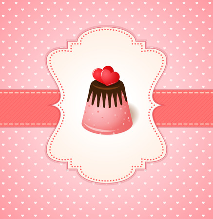 pink: Vintage vector invitation card with two hearts on chocolate jelly cake