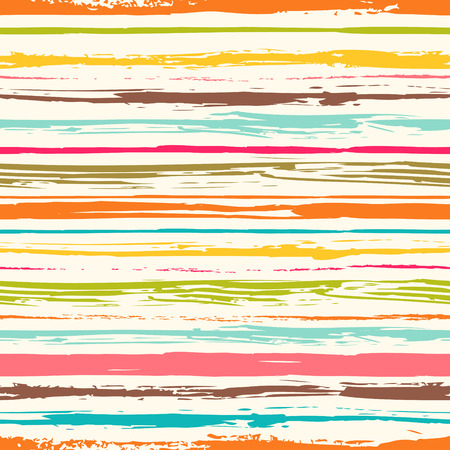 Colorful stripes seamless pattern. Abstract background with hand drawn stripes. Vector watercolor lines background. Stock Illustratie