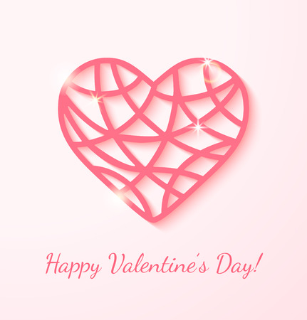 Applique card with pink heart. Can use as Valentine Vector