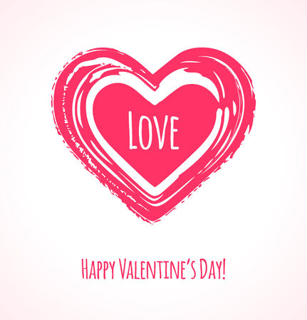 Grunge pink heart. Valentines Day card or background. Vector