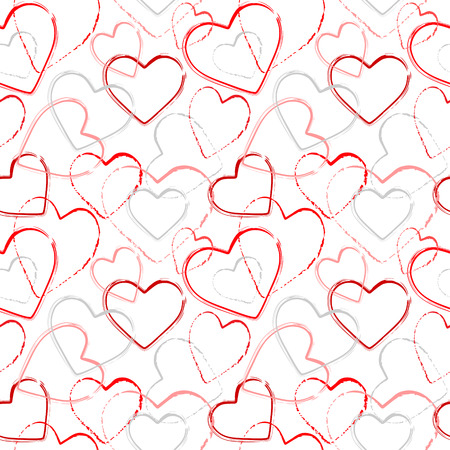 Color grunge romance seamless pattern. Abstract background with hand drawn hearts. Vector watercolor hearts background. Vector