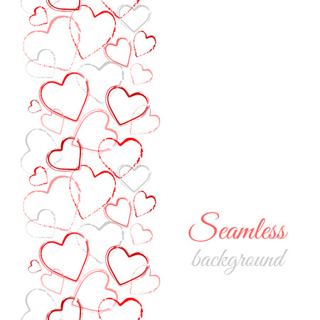 Grunge color hearts. Border seamless pattern. Abstract background with hand drawn hearts. Vector watercolor hearts background.