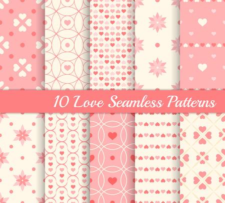10 種類のシームレスなパターン。コレクションが大好きです。心と花です。壁紙、web ページの背景、包装紙の無限のテクスチャです。レトロなスタ  イラスト・ベクター素材