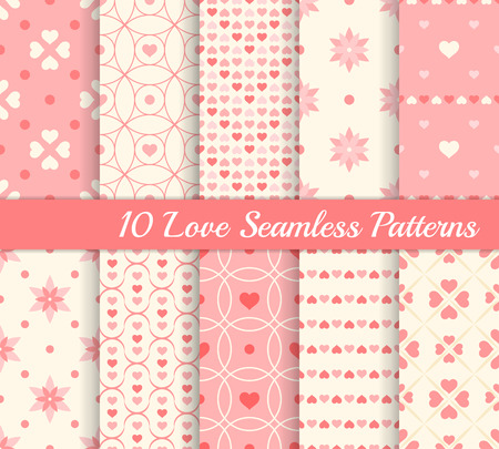 10 different seamless patterns. Love collection. Hearts and flowers. Endless texture for wallpaper, web page background, wrapping paper and etc. Retro style. Pink and beige color. Vector