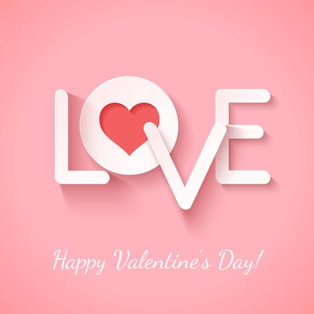 Signo de papel amor con el corazón rojo cotout sobre color de rosa. Ilustración vectorial Foto de archivo - 35855945
