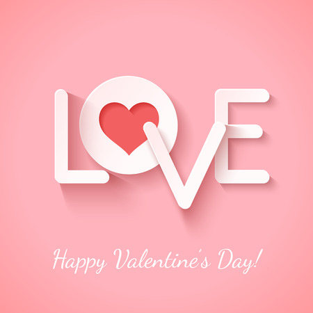 Paper sign love with cotout red heart over pink. Vector illustration