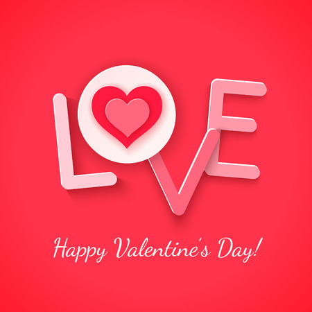 Paper love with heart over red. Vector illustration Vector