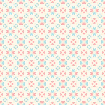 corazones azules: Modelo incons�til retro. Corazones rosados ??y azules sobre fondo beige
