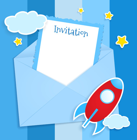 Blue invitation card with envelope, clouds and spaceship stickers. Vector