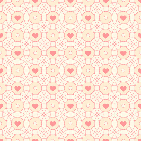 Seamless pattern with hearts and circles. Arabic style. Vector repeating texture. Can use as background for birthday, wedding, Valentines Day Vector