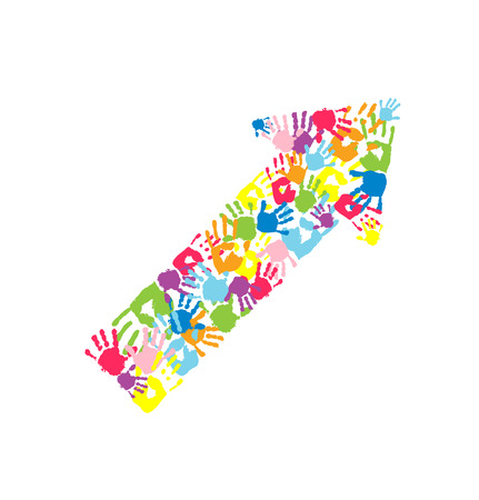 handprints: Arrow made of the handprints. Symbol of growth, teamwork, achievement and togetherness