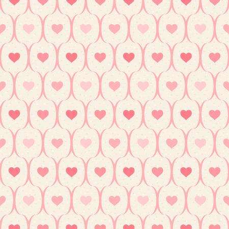 lineas onduladas: Modelo incons�til retro. Corazones rosados ??y l�neas onduladas sobre fondo beige Vectores