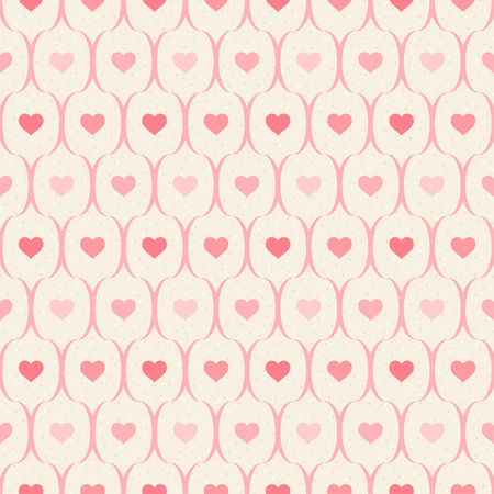 decoratively: Retro seamless pattern. Pink hearts and wavy lines on beige background Illustration