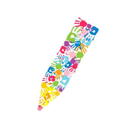 Ołówek wykonany z odcisków dłoni. Symbol sztuki, edukacji i pracy zespołowej