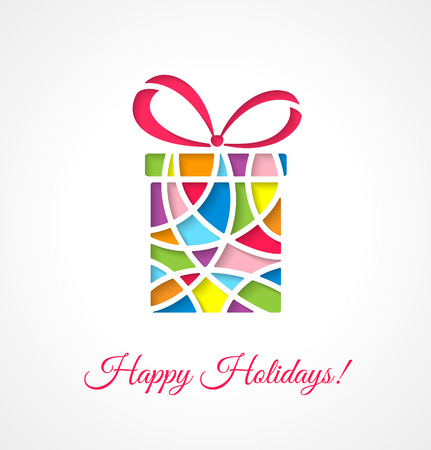 Greeting card template with cut out multicolor gift. Vector illustration. Stock Illustratie