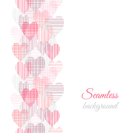 Abstract seamless border pattern with color hearts Vector