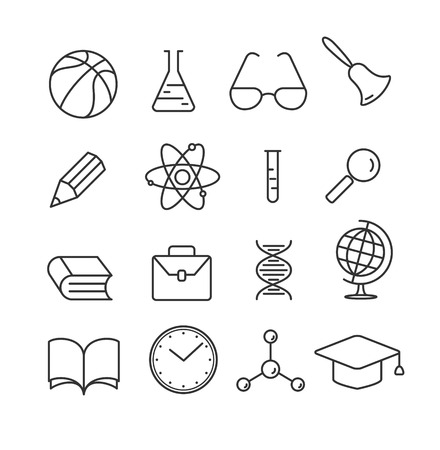 Education linear flat icons set. Collection of school objects and educational equipment. Isolated on white background. Vector
