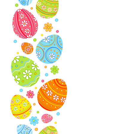 Festive Easter seamless pattern. Colorful eggs and flowers Illustration