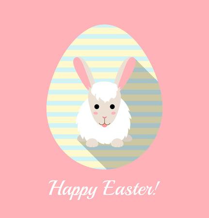 lengua larga: Ilustraci�n del vector del conejo lindo en el huevo rayado. Tarjeta de Pascua plana.