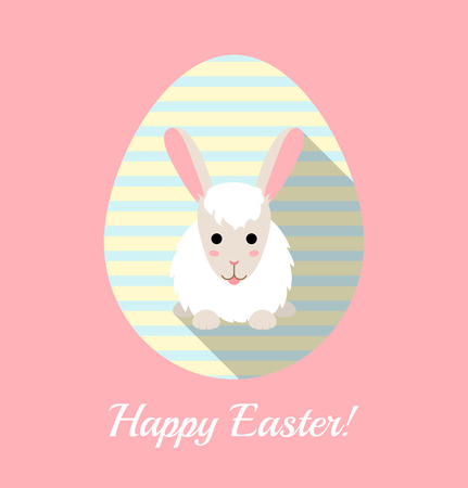 long tongue: Vector illustration of cute rabbit on striped egg. Flat Easter card.