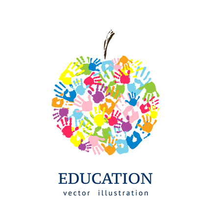 アップルは、手から作られました。抽象的なベクトルの背景。教育コンセプト