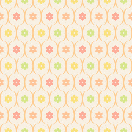 dotted background: Retro seamless pattern. Color flowers and wavy lines on beige dotted background