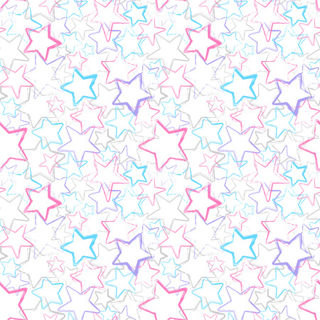 decoratively: Grunge color stars. Vector seamless pattern. Abstract background with watercolor stars.