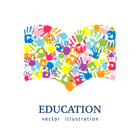 Book made from hands. Abstract vector background. Education concept