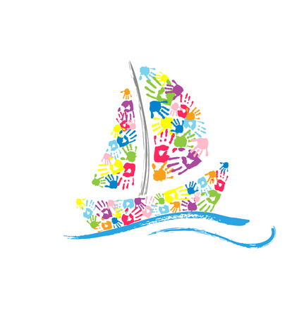 Ship made of the color handprints on white background. Vector illustration