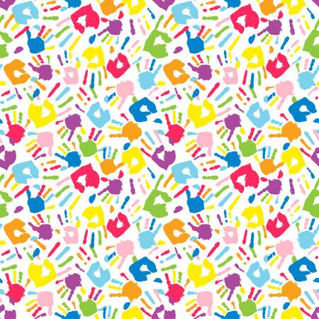 handprints: Multicolor different handprints, seamless pattern. Vector illustration Illustration