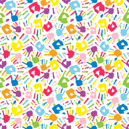 Multicolor different handprints, seamless pattern. Vector illustration Illustration