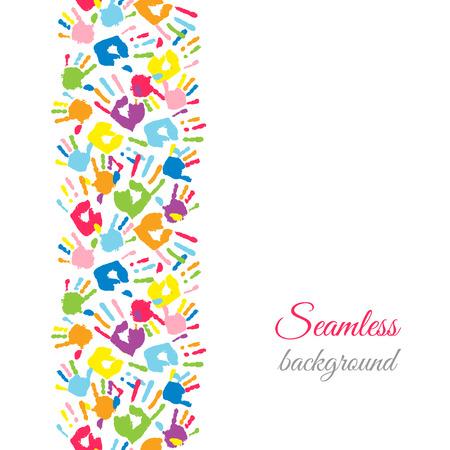 Colorful hands. Seamless border background. Vector illustration Illustration