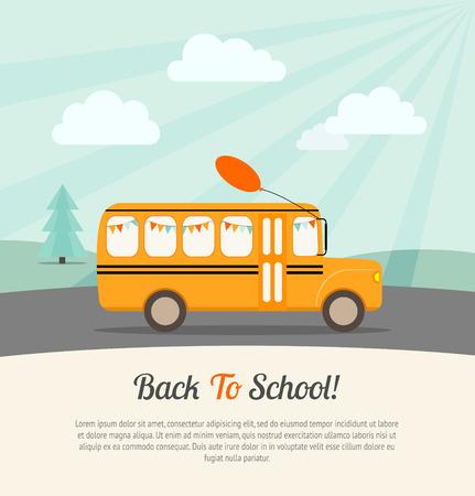 escuela: Autobús escolar con banderas festivas y globo monta a la escuela. Volver a la escuela poster.Vintage fondo. Ilustración vectorial Flat.