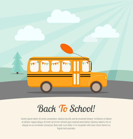 School bus with festive flags and balloon rides to school. Back to school poster.Vintage background. Flat vector illustration. Çizim