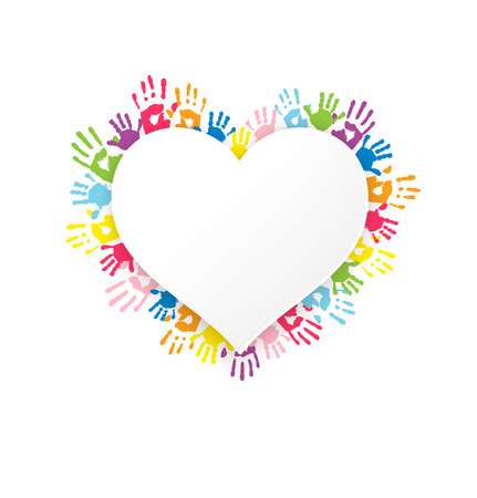 handprints: White heart shape sticker on background with multicolor handprints. Vector illustration. Can use as poster, invitation or brochure.